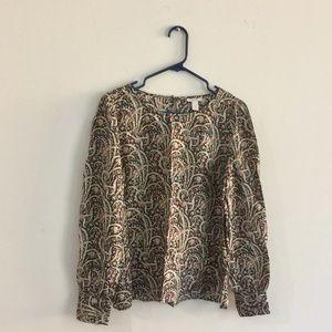 J Crew 100%Silk Top Blouse Size 6
